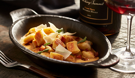 Ricotta Gnocchi with Pumpkin Cream, Pancetta, and Sage